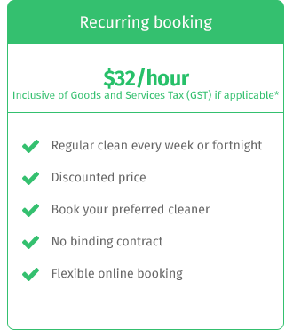 regular cleaning price table